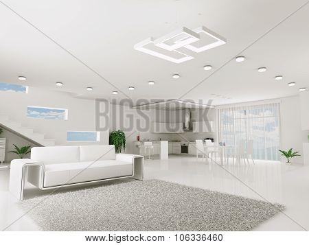 Interior Of White Apartment 3d rendering