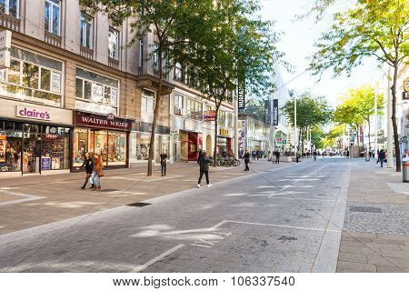 People On Mariahilferstrasse Street In Vienna