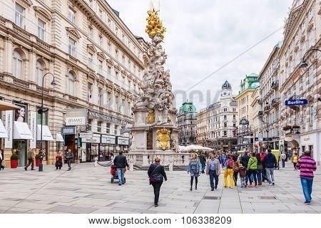 Tourists On Graben Street Near Plague Column