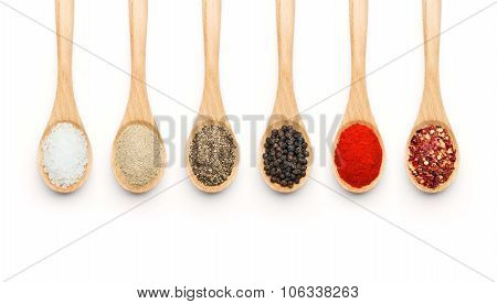 Wooden Spoon Filled With Various Spices