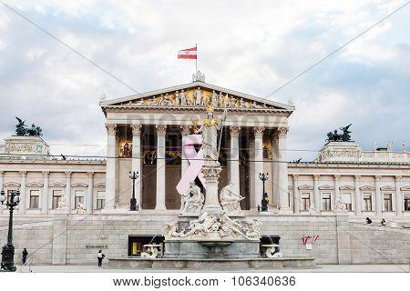 Athena Pallas Fountain Near Austrian Parliament