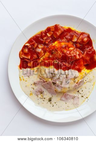 Breakfast Japanese Omelet With Red And White Sauce.