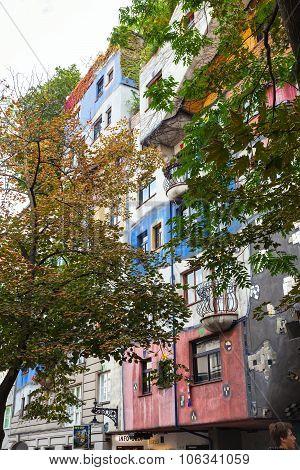 Painted Hundertwasser House In Vienna, Austria
