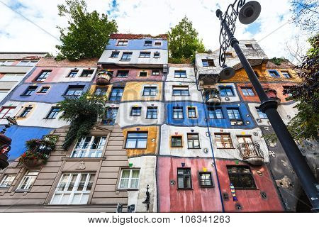 Front View Of Hundertwasser House In Vienna