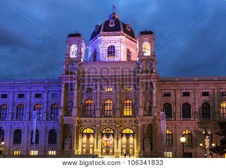 Facade Naturhistorisches Museum In Evening, Vienna