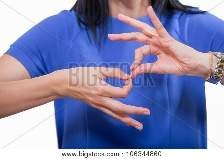 Deaf woman using sign language, close up, isolated on white