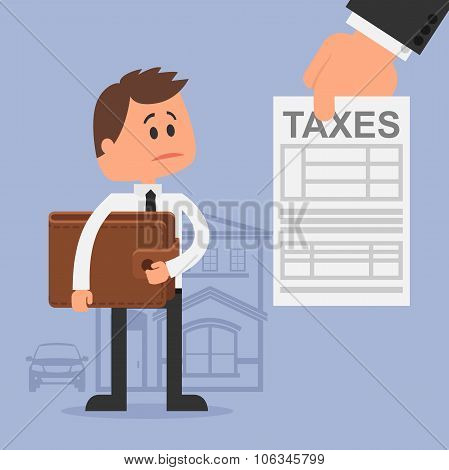 Cartoon vector illustration for financial management and taxes concept. Unhappy man with wallet got