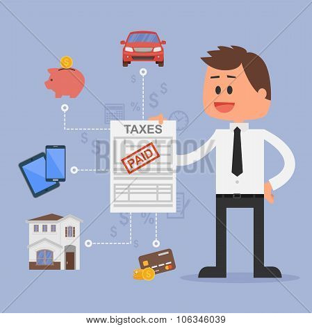 Cartoon vector illustration for financial management and taxes concept. Happy businessman paid all t