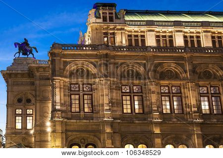State Opera House In Evening, Vienna