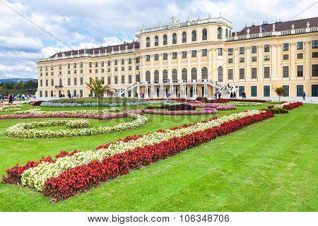 Flowerbed In Garden Of Schloss Schonbrunn Palace