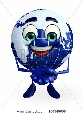 Globe Character With Promise Pose