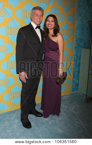 LOS ANGELES - JAN 11:  Michael Buffer, Christine Buffer at the HBO Post Golden Globes Party at a Beverly Hilton on January 11, 2015 in Beverly Hills, CA