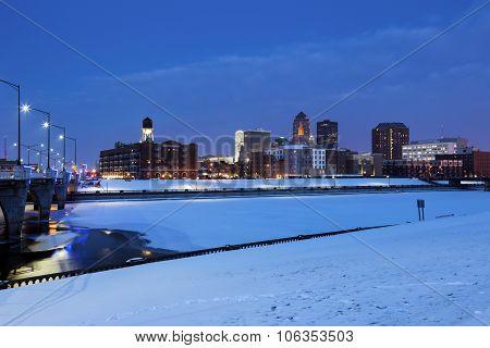 Des Moines Skyline Across Frozen River