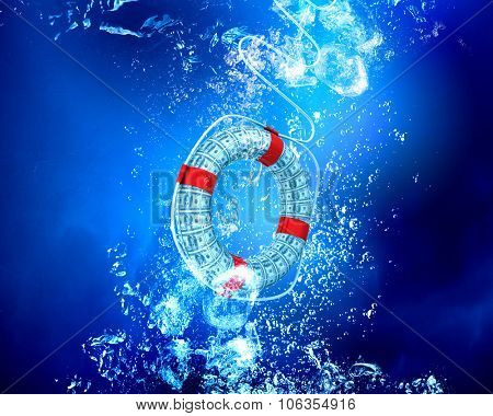 Life insurance concept with life buoy sink in clear blue water