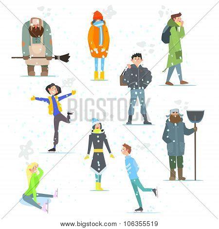 People in Winter. Winter Activities. Vector Illustration.
