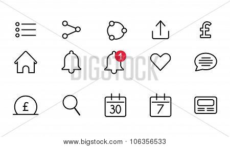 Set of the icons for mobile or web interfaces