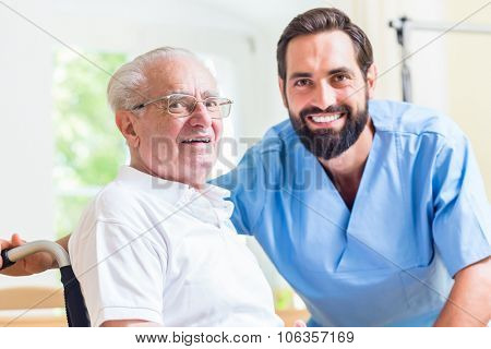 Senior man and nurse in rest home