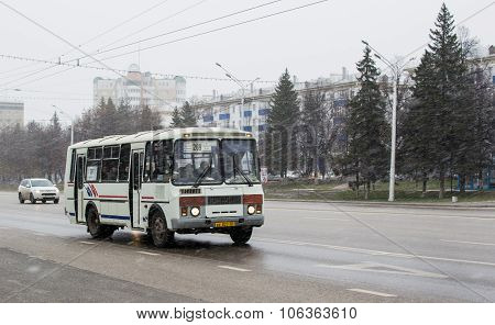 Old Russian Style Bus and Highway