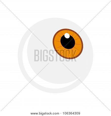 Halloween Eyeball Vector Symbol. Orange, Brown, Hazel Pupil Eye Illustration Isolated On White Backg