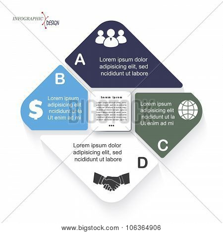 Vector Infographic Template With Four Segments Can Be Used For Business Presentation,  Chart