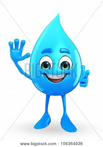 Water Drop Character With Hallo Pose