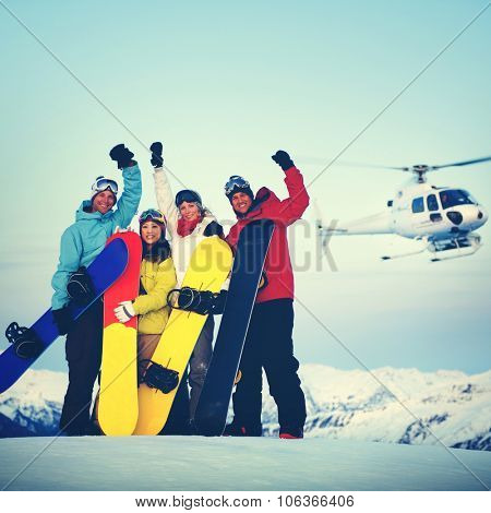 Snowboarders Mountain Ski Extreme Helicopter Concept