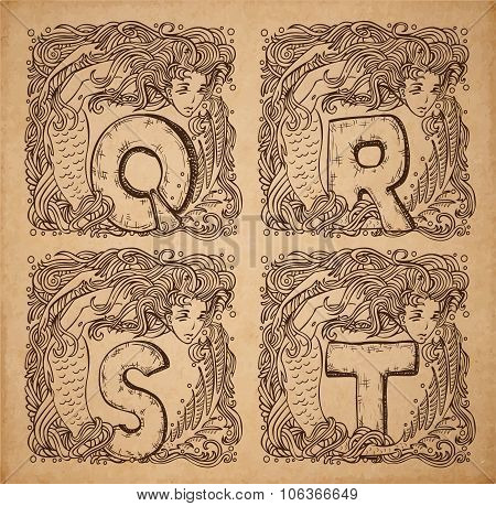 Vintage nautical alphabet - q r s t - uppercase letters on realistic old parchment background with beautiful mermaid vignette decorative scrapbooking elements poster