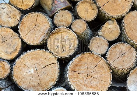 Close up of firewood logs in a pile