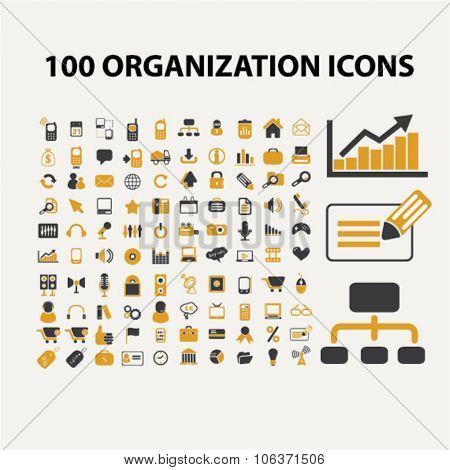 100 organization, management, office, business icons set for infographics