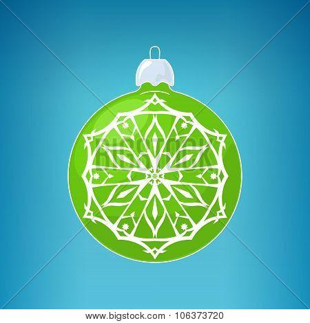 Green Ball With Snowflake , Merry Christmas