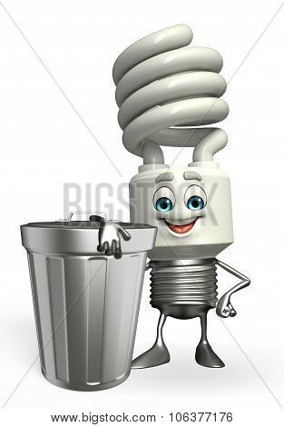 Cfl Character With Dustbin