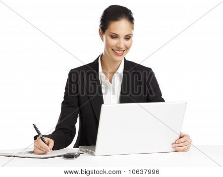 Business Woman Working With Laptop On White