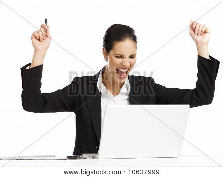 Young Businesswoman Exited Looking At Laptop 2