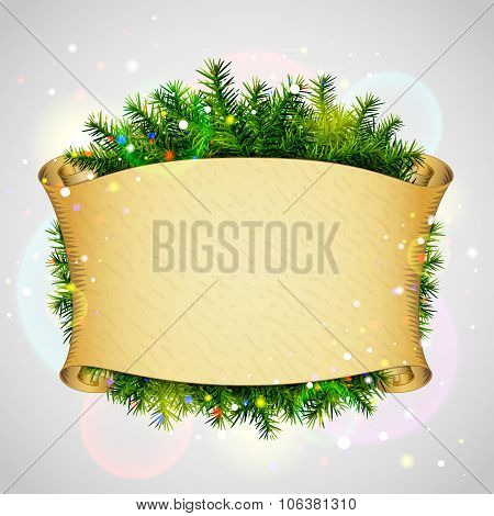 Paper Scroll For Christmas List With Pine Branches
