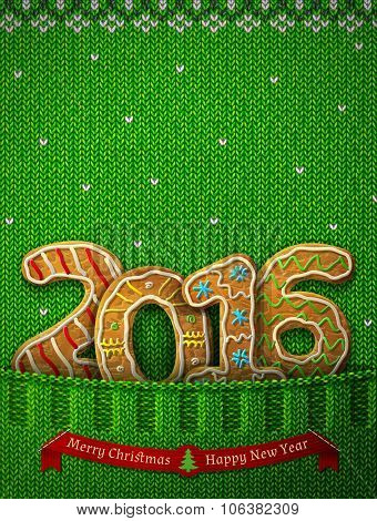 New Year 2016 In Shape Of Gingerbreads In Knitted Pocket