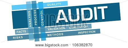Audit concept image with text and related keywords. poster