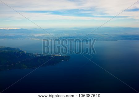 View from the airplane of an a amazing landscape