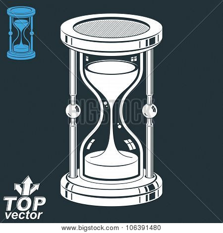 Eps8 Highly Detailed Vector Sand-glass. Antique Classic 3D Hourglass With Pour Sand Isolated On Dark
