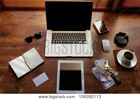 Mock up of hipster office workplace with luxury accessories and work tools