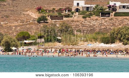 Paros, Greece, 10 August 2015. Local people and tourists enjoying their summer vacations.