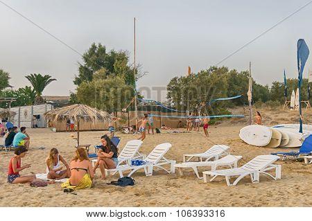 Paros, Greece, 9 August 2015. Xrisi Akti beach with people enjoying their summer.