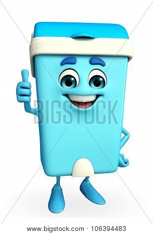 Dustbin Character With Thumbs Up Pose