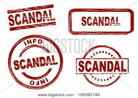 Set of stylized stamps showing the term scandal. All on white background.