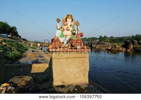 Ganesh Himal At Tungabhadra River, Hampi