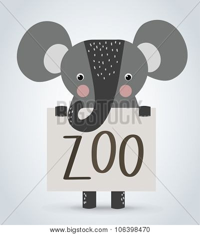 Elephant wild cartoon animal holding clean welcome zoo board vector. Pets vector elephant. Wild animals elephant. Elephant zoo cartoon illustration. Vector elephant holding white board. Elephant