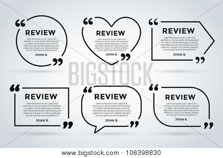 Website review quote citation blank template. Website review vector icon. Quote comment template. Quote bubble. Shop customer review template. Circle review template, paper sheet, information, text