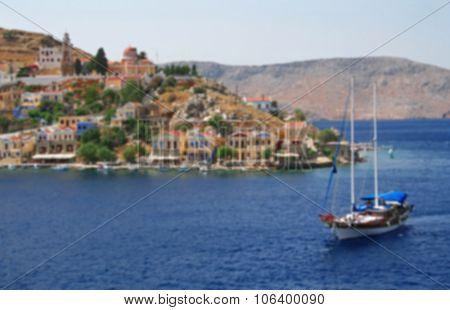 Greece. Aegean Sea. Island Symi (simi). In Blur Style