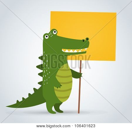 Wild animal zoo crocodile holding strike clean plate board vector cartoon. Wild vector crocodile. Jungle green crocodile. Wild crocodile silhouette. Vector animals. Crocodile holding board. Vector