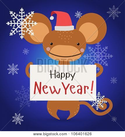 New Year Christmas ape wild cartoon animal holding 2016 board vector cartoon. Wild cartoon monkey. Christmas ape monkey. Monkey cartoon illustration. Vector ape holding new year board. Monkey holding