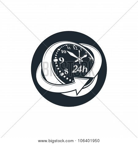 24 hours-a-day concept clock face with a dial and an arrow around. Day-and-night interface icon for use in web design. poster